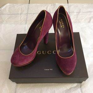 Gucci Kid Scamosciato Huston Purple Suede Pumps